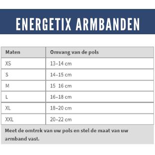 Afbeelding van een Maattabel van de ENERGETIX Armbanden. De juiste maat ENERGETIX Armband vindt u door de omvang van de pols in centimeters op te meten.