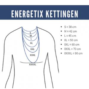 Tekening van de ENERGETIX Magneetkettingen, zoals die in de verschillende maten en lengtes in centimeters om de hals vallen